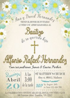 Invitacion de Bautizo para imprimir Digital por MyPrintableInvite