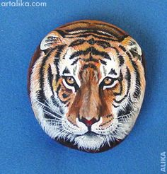 painted rocks: animals:tiger face