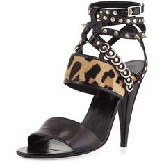 Saint Laurent Spike-Studded Ankle-Wrap Sandal (€1.450) ❤ liked on Polyvore featuring shoes, sandals, ankle strap sandals, black high heel shoes, ankle wrap sandals, strappy high heel sandals and black sandals