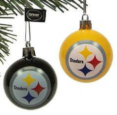 Pittsburgh Steelers Christmas Tree Ball Ornament Set 12 official NFL football