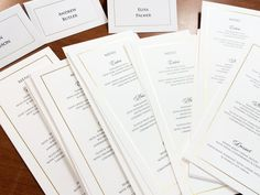 Menus and place cards, white with gold foiled border... Elegant and perfect for weddings or corporate functions! #fineinvitations #weddingstationerysydney #corporateeventssydney
