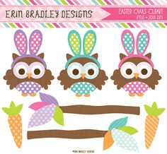 Easter Owls and Carrots Holiday Clipart Graphics
