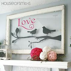 old windows repurposed | repurposed window as wall art from House of Smiths Deco Saint Valentin, Saints, Sweet Home, Cool Stuff, Table, Home Decor, Valentines Day, Bricolage, Presents