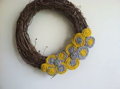 Like Colors---Gray and Yellow Burlap Wreath Attachment by redesignaccessories, $22.00