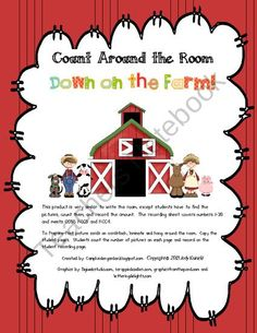 Farm Count Around the Room from CampKindergarten on TeachersNotebook.com (21 pages)  - My students love write the room. This product is a twist on write the room, but now they have to count. It meets CCSS KCC5 and KCC4.  It will work perfectly with your farm unit and complements my Farm Write the Room!
