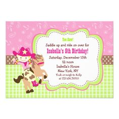Cowgirl Custom Birthday Party Invitations