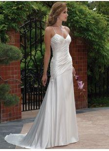 Sexy White Sheath/Column Satin Church Wedding Dress (MW53BH)-LuckyDressShop.com