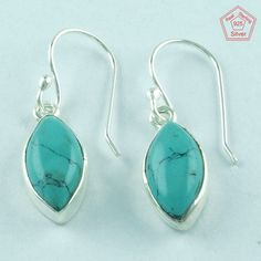 TURQUOISE STONE 925 STERLING SILVER BEAUTIFUL EARRINGS FOR GIRL'S E3006 #SilvexImagesIndiaPvtLtd #DropDangle