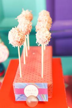 Fluffy cake pops at an iCarly party!  See more party ideas at CatchMyParty.com!  #partyideas #girlbirthday