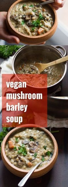 A mix of savory mushrooms is simmered up with veggies and hearty barley in a silky cashew base to make this rich and indulgent creamy vegan mushroom soup.