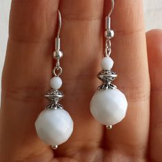 Dazzling Best Collection of Earrings Ideas. Ineffable Best Collection of Earrings Ideas. White Earrings, Beaded Earrings, Earrings Handmade, Handmade Wire, Cross Earrings, Handmade Jewellery, Stone Earrings, Diamond Earrings, Sterling Silver Jewelry