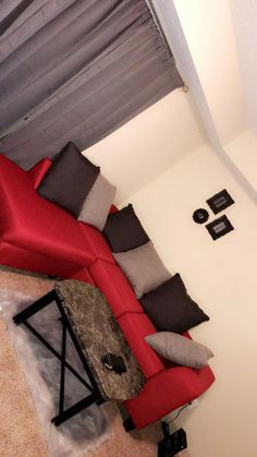 Red and grey living room Living Room Decor Cozy, Living Room Grey, Living Room Sets, Home And Living, Home Bedroom, Bedroom Decor, Apartment Living, Apartment Ideas, Apartment Goals