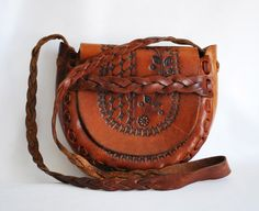 VTG Vintage Authentic Hand Tooled Stamped Leather Hippie Gypsy Bag Purse Cross Body Mexico Mexican Hand Made Braided Flowers Tote