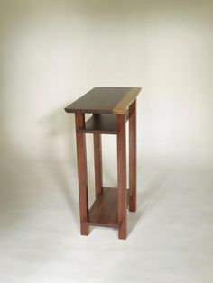 Live Edge Table - Walnut - Modern Nightstand with Shelves, Narrow Wood Table for Bedroom Narrow Side Table, Small End Tables, Table For Small Space, Side Tables, Small Spaces, Walnut Table, Wood Table, A Table, Solid Wood Furniture