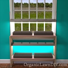 Affordable Seed Starting Bench plans with adjustable lights.