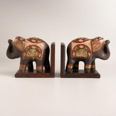 One of my favorite discoveries at WorldMarket.com: Hand-Painted Wood Elephant Bookends, Set of 2