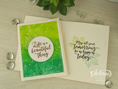 Colorful Seasons stamp set by Stampin Up with sponging and spritzing, what an awesome combination! The Seasonaly Layers thinlits and Stitched Shapes dies help bring these to life.