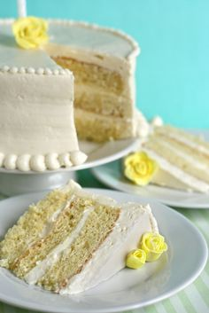 Lemon Chiffon Cake - maybe substitute a lemon cream cheese frosting for the IBC.Source From a lemon cream cheese chiffon cake. Cake Frosting Recipe, Frosting Recipes, Cake Recipes, Lemon Desserts, Just Desserts, Lemon Cakes, Cupcakes, Cupcake Cakes, Cakes Made With Oil