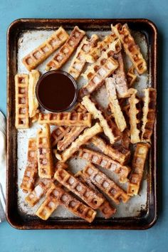 Waffle Churros - The Candid Appetite Pint Of Ice Cream, How To Make Waffles, Crispy Waffle, Belgian Waffles, French Desserts, Night Snacks, Something Sweet, Churros, Kitchen Recipes