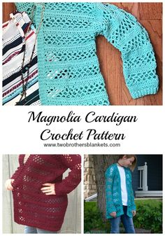 takes you to a place to buy the pattern for Magnolia Cardigan Crochet - Two Brothers Blankets Crochet Cardigan Pattern, Crochet Shirt, Crochet Jacket, Crochet Patterns, Shrug Pattern, Easy Crochet, Free Crochet, Knit Crochet, Crochet Sweaters