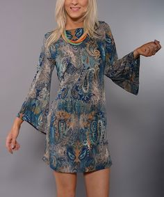 Lbisse Teal & Tan Paisley Bell-Sleeve Dress - Women by Lbisse #zulily #zulilyfinds