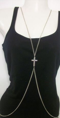 CROSS Gunmetal Silver Body Chain Metal HARNESS Runway Belly Bikini Necklace. $10.00, via Etsy.