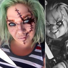 Chucky makeup. Halloween Makeup Costume Makeup Ideas Horror movie Monster movie makeup Childs play Stitches Scars