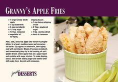 Granny's Apple Fries Recipe Postcards -Find the Real Estate Postcard That Best Fits Your Tastes
