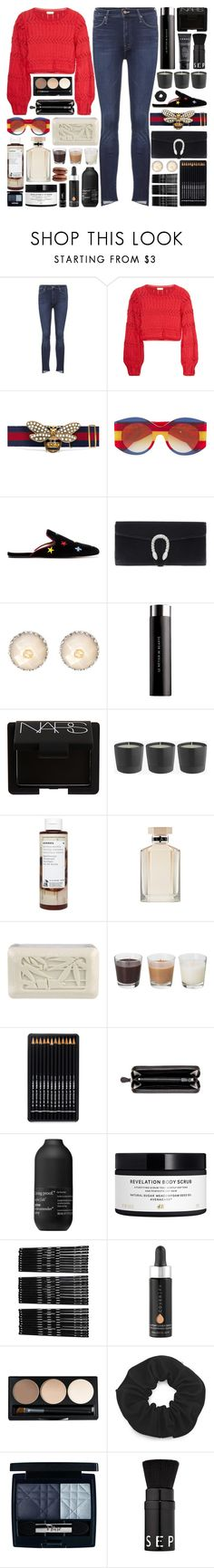 """""""My heart has never felt this way before. I'm looking through your eyes."""" by pure-and-valuable ❤ liked on Polyvore featuring Mother, Gucci, Le Métier de Beauté, NARS Cosmetics, Korres, STELLA McCARTNEY, Archipelago Botanicals, Bottega Veneta, Living Proof and H&M"""