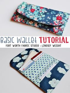 Fort Worth Fabric's Basic Wallet - Free Sewing Tutorial + PDF Pattern Learn how to sew a simple wallet with free sewing tutorials from Lindsey Weight and Alexandra Saeger. Need excellent helpful hints on how to sew? Sewing Projects For Beginners, Sewing Tutorials, Sewing Hacks, Sewing Tips, Tutorial Sewing, Diy Wallet Tutorial, Bag Tutorials, Coin Purse Tutorial, Craft Tutorials
