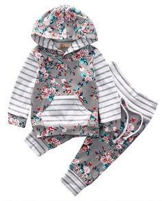 Grey Floral Baby Girl Outfit