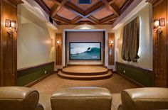 Traditional Man Cave with Wainscoting, Exposed beam, Home theater seating, High ceiling, Carpet, Chair rail, Crown molding