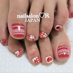 Toenails by rie_nail ..would prefer it in a brighter red and crispy white