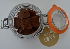Terry's Chocolate Orange Slow Cooker Fudge Recipe - A Homemade & Edible Christmas Gift - finished result presented in Mason Jars Edible Christmas Gifts, Christmas Projects, Christmas Baking, Christmas Ideas, Fudge Recipes, Baking Recipes, Slow Cooker Fudge, Terry's Chocolate Orange, Homemade Food Gifts