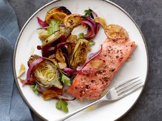 Salmon With Baby Artichokes from FoodNetwork.com