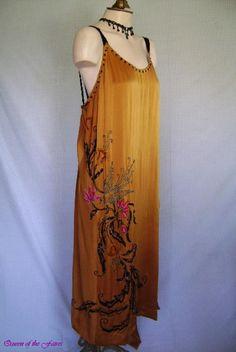 1920s Pumpkin Spice Gold Silk Beaded Asymmetrical Flapper Dress. Sideway                                                                                                                                                      More