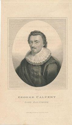 George Calvert Lord Baltimore original antique 1807 engraved portrait print