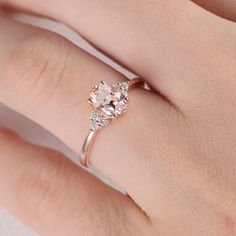 Morganite Engagement Ring Rose Gold Diamond Cluster Ring Oval Cut Bridal Wedding Ring Promise Women Thin Multistone Anniversary Gift for Her ITEM INFORMATION: Metal Type: Solid 14K Rose Gold Band Width: 1.5mm Size: US3-10 Center Stone: 5*7mm Natural Morganite Color: Pink Side