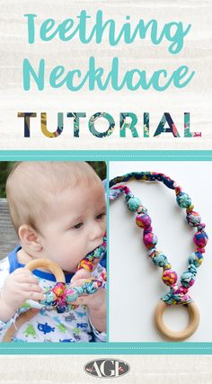 Teething necklace pinterest graphic