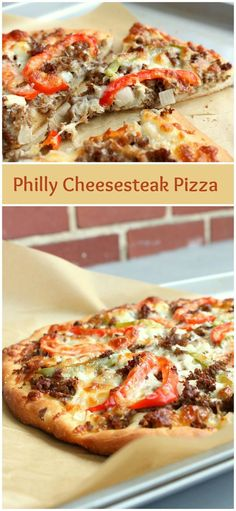 Philly Cheesesteak Pizza - an easy weeknight dinner recipe idea(Cheese Steak Calzone) A hearty pizza made with steak, cheese, peppers and onions. Philly cheesestake pizza makes a delicious comfort food. Philly Cheesesteak Pizza Sub low carb tortilla shell Italian Recipes, Beef Recipes, Cooking Recipes, Gourmet Pizza Recipes, Vegetable Pizza Recipes, Dinner Recipes, Pizza Vegetal, Calzone, Bagel Pizza