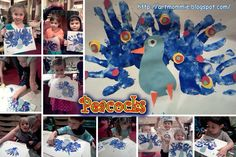 "Colorful Peacocks  ""Do You Want to Be My Friend?"" by Eric Carle inspired us to create our own beautiful handprint peacocks. Aren't they just wonderful! The children had a great time guessing which animal the mouse was going to see next. The page would only show a piece of the animal and you had to turn the page to see if the children had guessed correctly."