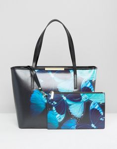 Ted Baker Crosshatch Leather Shopper With Butterfly Print at asos.com 34e38efed2753