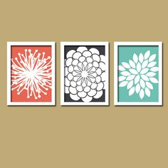 Coral Navy Teal Flower Burst Daisies Petals Artwork Set of 3 Trio Prints Wall Decor Abstract Art Picture Silhouette via Etsy