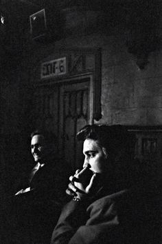 """A rare shot by Alfred Wertheimer, Elvis backstage at CBS-TV studio 50, waiting to perform on the Dorsey Brothers """"Stage Show"""", New York City, Saturday, March 17, 1956"""