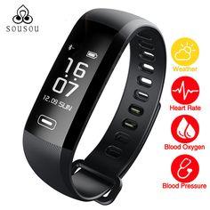 Smart Bracelet Band Heartrate Blood Pressure Oxygen Oximeter Sport Bracelet Clock Watch intelligent For iOS Android R6PRO #Affiliate