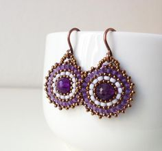 6mm amethyst and japanese seed beads in purple, pale gray and golden bronze
