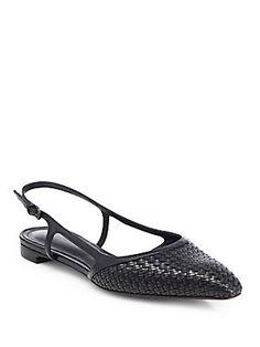 Bottega Veneta Woven Leather Slingback Flats