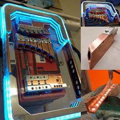 custom car audio power distribution, plexiglass billet, leds copper, fuse block