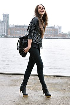 From live-breathe-fashion.tumblr.com my go to rocker chick look-booties minus the heels (cant do 'em!)