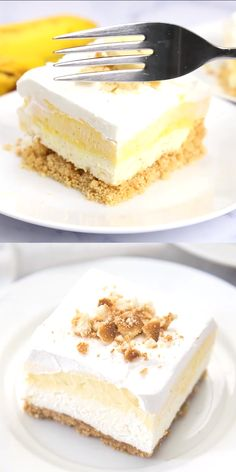 Banana Cream Pie Bars are a delicious no bake dessert. They start with a buttery cookie crust, a homemade cheesecake filling, banana pudding, and all topped with a creamy whipped topping. These bars are the best treat for banana cream pie lovers! Banana Cream Cheesecake, Homemade Cheesecake, Easy Cheesecake Recipes, Easy Cake Recipes, Chocolate Cheesecake, Cake Chocolate, Chocolate Chips, Banana Bars, Chocolate Pudding